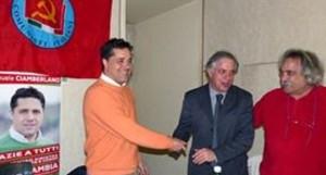 Emanuele Ciamberlano, capogruppo PD, con segretario Lazio PCdI Luca Battisti, e con Maurizio Aversa, segretario PCdI Marino