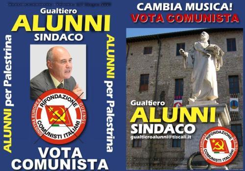Documento elettorale di Gualtiero Alunni per amministrative Palestrina