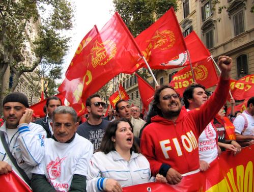 Manifestazione di operai in lotta in difesa dell'articolo 18 e contro il governo Monti
