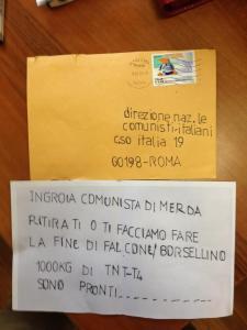La lettera anonima, scritta col normografo, recapitata alla redazione de l'Espresso e alla sede nazionale del Pdci