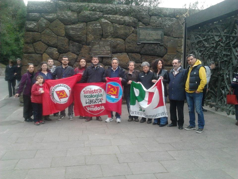 Su invito dell'Anpi, una delegazione di PD, Sel, Idv, Prc, Pdci, il 24 marzo 2013 ha reso omaggio ai martiri delle Fosse Ardeatine