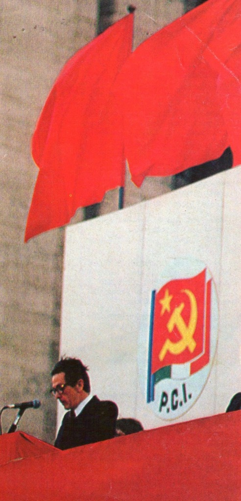 Comizio di Enrico Berlinguer, segretario del Partito Comunista Italiano