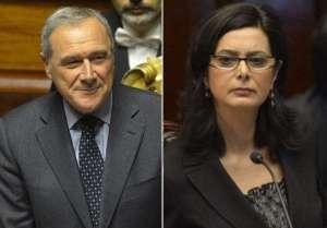 Pietro Grasso, presidente del Senato e Laura Boldrini, presidente della Camera