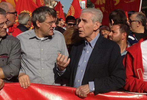 Maurizio Landini e Stefano Rodotà ad una recente manifestazione Fiom