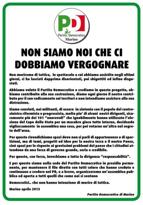 Il manifesto di Rivolta del Pd di Marino contro la giravolta del Pd nazionale