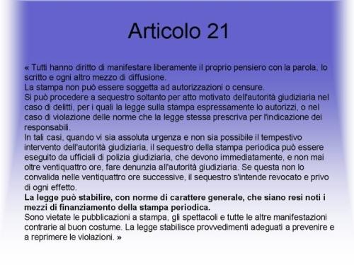 L'articolo 21 della Costituzione