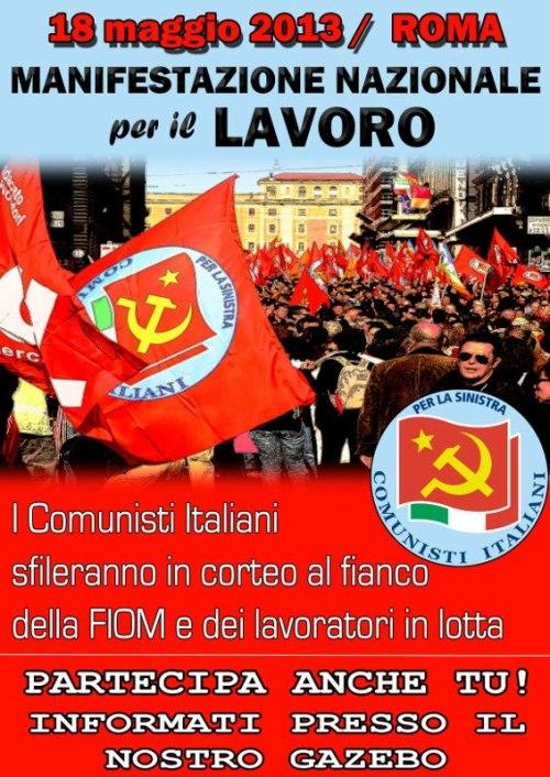 Il manifesto di adesione alla manifestazione del 18 a Roma con la FIOM da parte del Partito dei Comunisti Italiani
