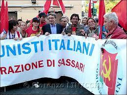 Manifestazione a Roma con la partecipazione dei Comunisti Italiani (qui da Sassari con al centro Oliviero Diliberto)