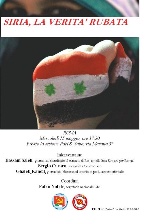 Appuntamento di solidarietà e verità sulla Siria a Roma