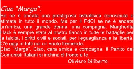Il pensiero commosso di Oliviero Diliberto, segretario del PDCI