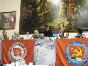 Al centro, durante il suo intervento in una iniziativa Cesare Procaccini, al suo fianco Oliviero Diliberto