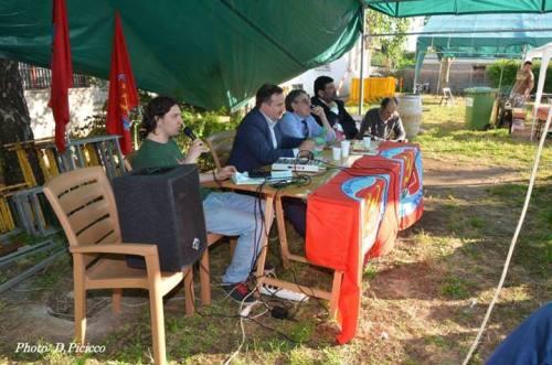Stefano D'Alessandro, segretario Pdci Campoleone in un intervento con Telese, Diliberto, Moro e Sanna
