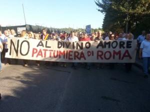 Protesta del movimento dei comitati contro la discarica di Falcognana