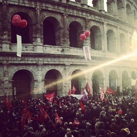 La manifestazione si è conclusa al Colosseo