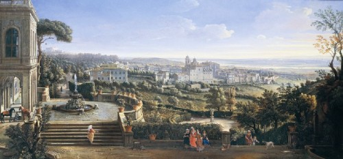 """Un a veduta su Marino dipinta dal Van Vittel. Scelta come copertina del libro e della mostra """"Marino e i Colonna"""""""